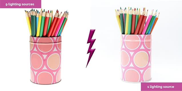 colored pencils with 7 lighting sources and 1 lighting source