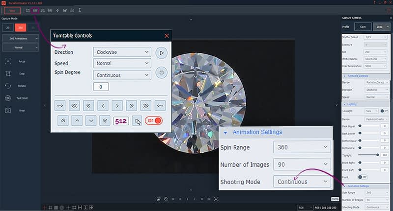 animation settings to create diamond face-up