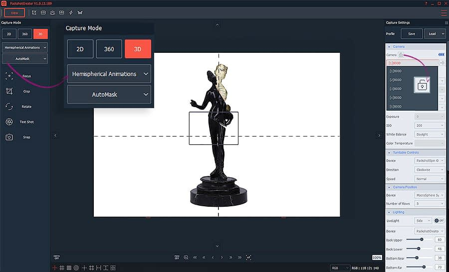 creating 3D animations of art and antique items with automask