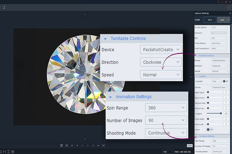 animation settings for 360 diamond fire view