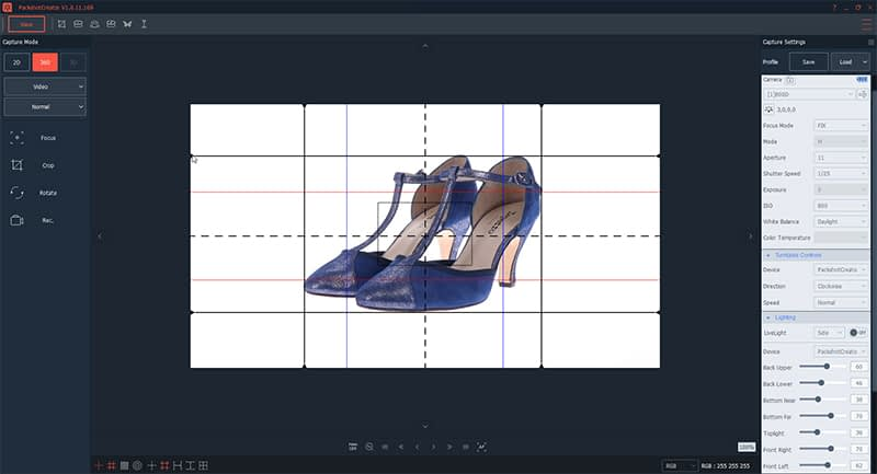 How to create a 360° animation of shoes with a ruler