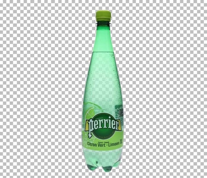 photo of a transparent bottle after background removal