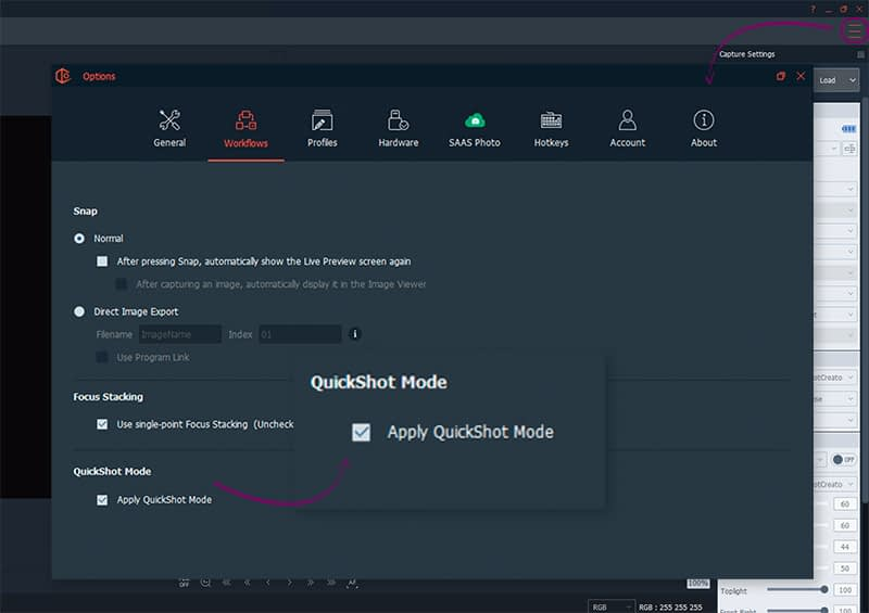 how to apply a quickshot mode on packshotcreator software