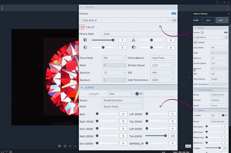 ideal camera and light settings to create hearts and arrows view
