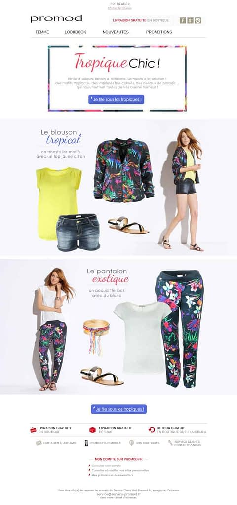 webpage of an online store with a display of clothes