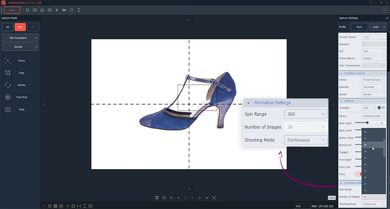 personnalisation animation 360 html5 chaussures