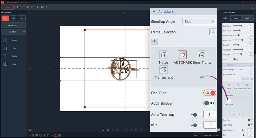 hintergrund Automask settings for jewelry photography
