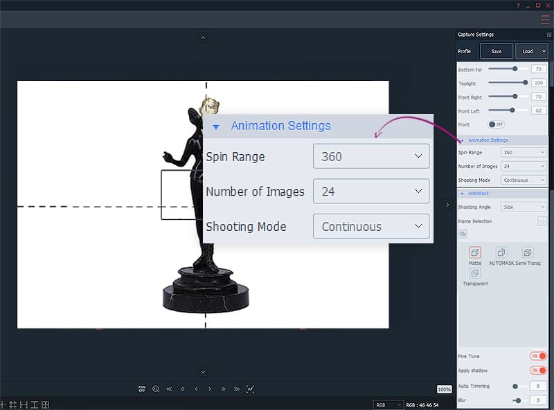 animation settings for 3D animation of art or antique objects