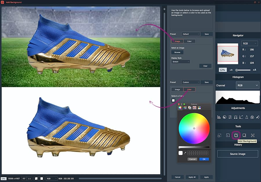adding a background to a 360 shoes animation with automask