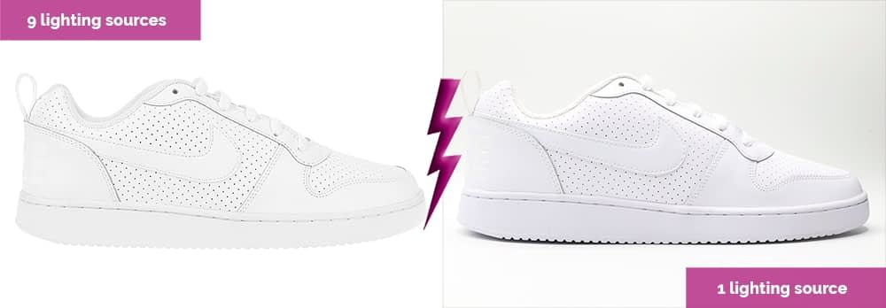 white shoes with 7 lighting sources and 1 lighting source