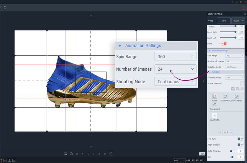 choosing the number of images for a 360 shoes animation