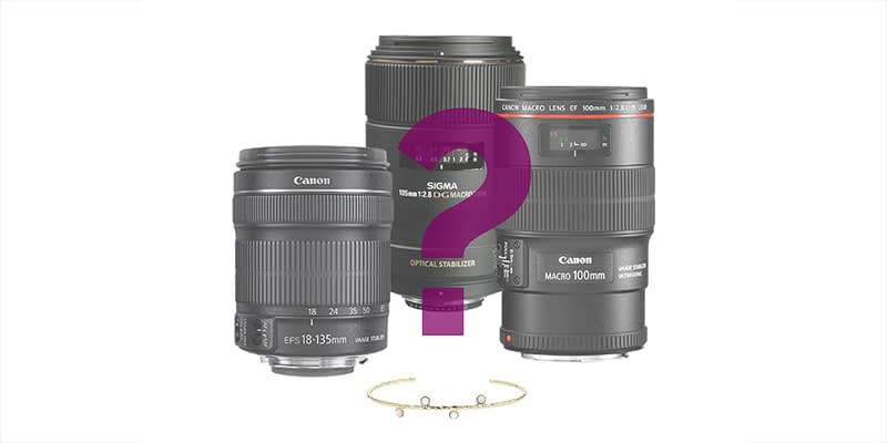 lens to use to photograph jewelry, precious stones or watches