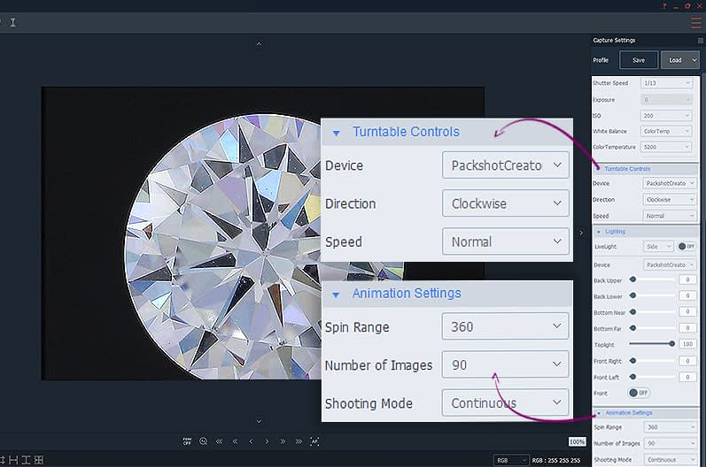 animation settings for 360° diamond vertical view